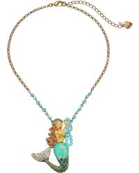 Betsey Johnson Into The Blue Small Mermaid Necklace blue - Lyst