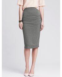 Banana Republic Ruched Black Jersey Pencil Skirt - Lyst