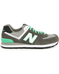 New Balance | gray 574 Grey Green Suede And Mesh Sneakers | Lyst