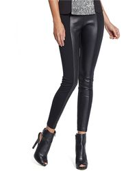 Guess Faux Leather  Jersey Leggings - Lyst