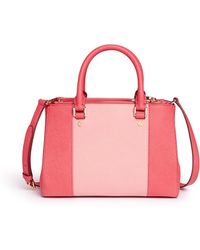 MICHAEL Michael Kors 'Sutton' Small 18K Gold Plated Centre Stripe Leather Satchel pink - Lyst