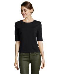 Three Dots Black Stretch Knit Structured Shirt - Lyst