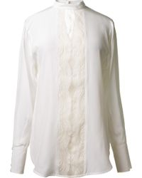 Lover White Cream Silk and Lace Shirt - Lyst