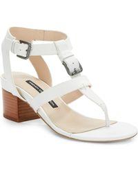 Prada Bicolor Saffiano Leather Tstrap Sandals In White