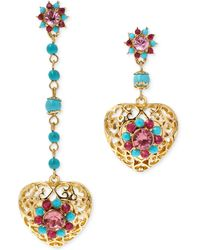 Betsey Johnson Gold-Tone Semi-Precious Turquoise Bead And Filigree Heart Mismatch Drop Earrings - Lyst