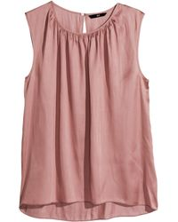 H&M Sleeveless Satin Blouse - Lyst