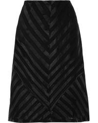Sandro Burnout Satin And Chiffon Skirt black - Lyst