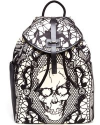 Alexander McQueen Lace Skull Printed Silk Satin Backpack - Lyst