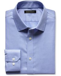Banana Republic Tailored Slim Fit Non Iron Micro Check Shirt Blue Willow - Lyst
