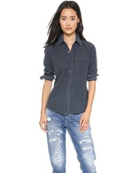 Levi's Chambray Shirt  Black Over Dye - Lyst
