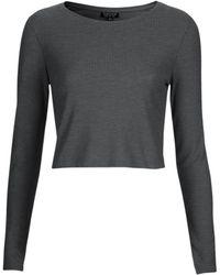 Topshop Long Sleeve Skinny Rib Crop Top - Lyst