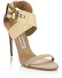 Burberry | Marham Crisscross Raffia Suede Sandals | Lyst