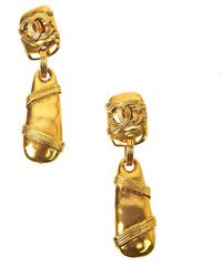 Chanel Pre-Owned Buoy Drop Earring gold - Lyst