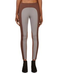 Marc Jacobs Grey and Brown Colorblocked Leggings - Lyst