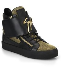 Giuseppe Zanotti Leather Metallic Nailheads High-Top Sneakers - Lyst