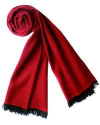 Plush Cashmere - Black And Red Twill Weave Cashmere Stole - Lyst