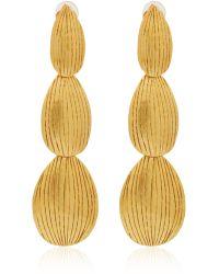 Herve Van Der Straeten - Gold-Plated Etched Drop Earrings - Lyst