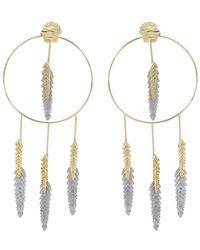 Maje - Nacre Palm Tree Leaf Hoop Earrings - Lyst