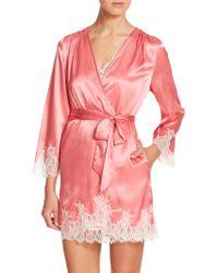 Oscar de la Renta Lace-Trimmed Satin Robe pink - Lyst