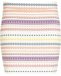 River Island White Aztec Stripe Print Mini Skirt - Lyst