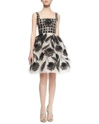Oscar de la Renta Feather-Detail Organza Dress - Lyst