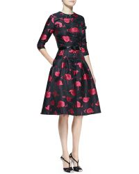 Carolina Herrera Bee  Floral Jacquard Full-skirt Button-up Dress - Lyst