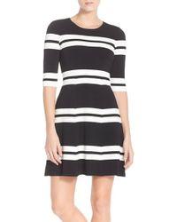 Eliza J | Stripe Sweater Fit & Flare Dress | Lyst