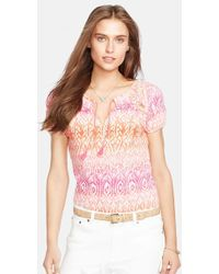 Lauren by Ralph Lauren Ikat Print Smocked Cotton Top - Lyst