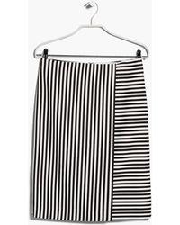 Mango Midi Striped Skirt - Lyst