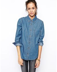 Asos Denim Shirt in Retro Wash - Lyst