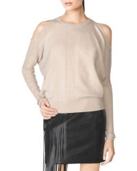 Tamara Mellon Rib Cold Shoulder Sweater beige - Lyst