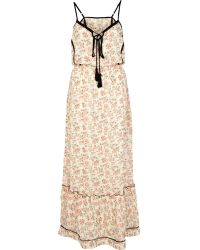 River Island Cream Ditsy Print Contrast Trim Maxi Dress - Lyst