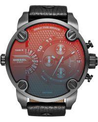 Diesel Men'S Little Daddy Black Leather Strap Watch 51Mm Dz7334 black - Lyst