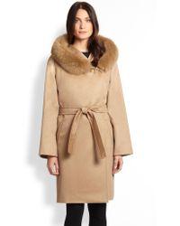 Max Mara Studio Furtrim Cashmere Wrap Coat - Lyst