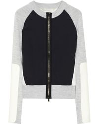 Reed Krakoff - Colorblock Crepe and Fine Knit Cardigan - Lyst