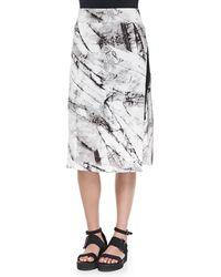Helmut Lang Terrene Slit Marble-Print Skirt - Lyst