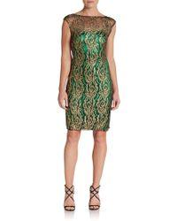 Kay Unger Metallic Floral-lace Sheath Dress - Lyst