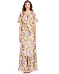 Diane von Furstenberg Dvf Jane Long Metallic Chiffon Maxi Dress brown - Lyst