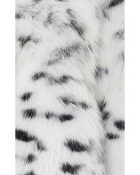 Helen Yarmak International Animal Print Fox Fur Coat - White