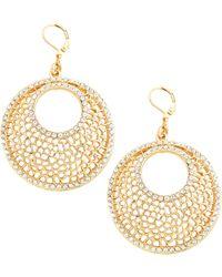 Kenneth Jay Lane Cutout Crystal Crescent Hoop Earrings - Lyst