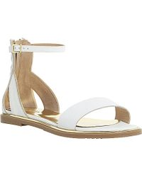 Dune Lanna Gold-Trim Leather Sandals - Lyst