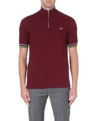 Fred Perry Bradley Champion Tipped Polo Shirt Port - Lyst