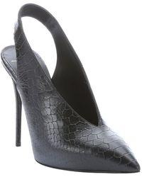Giuseppe Zanotti Black Scaled Leather 'Yvette' Pointed Toe Slingback Heels - Lyst