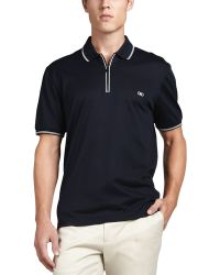 Ferragamo Blue Zip Polo - Lyst
