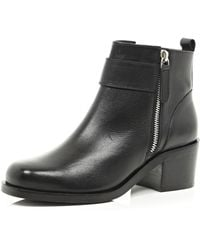River Island Black Block Heel Ankle Boots - Lyst