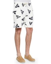 Band Of Outsiders Sailboat-Print Knit Shorts - Lyst