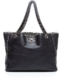 Chanel Preowned Black Lambskin and Tweed Tote - Lyst