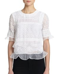 Rebecca Taylor Layered-Effect Lace Combo Top white - Lyst