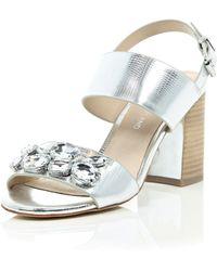 River Island Silver Jewel Embellished Block Heel Sandals silver - Lyst