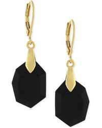 Vince Camuto - Gold-tone Black Stone Drop Earrings - Lyst